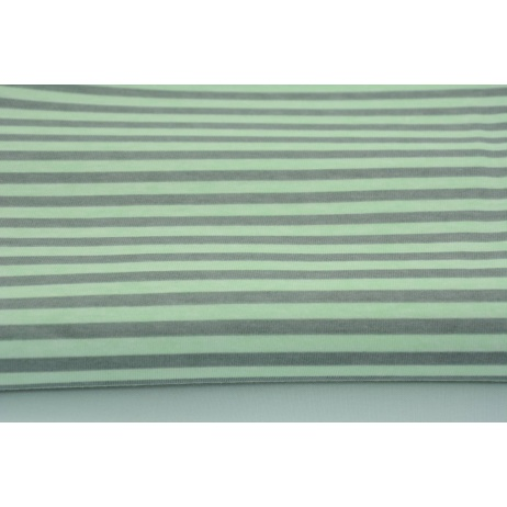 Knitwear 100% cotton 5mm gray stripes on a mint background