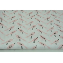 Cotton 100% coral birds on a white background