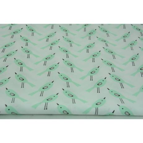 Bawełna 100% miętowe ptaszki na białym tle