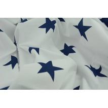 Bawełna 100% biała w duże, granatowe gwiazdy