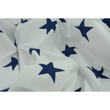 Cotton 100% big navy blue stars on a white background