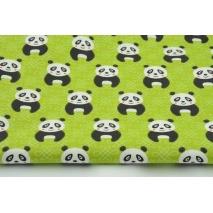 Bawełna 100% pandy na zielonym tle