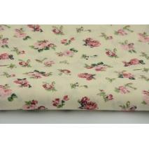 Bawełna 100% kwiatki na kremowym tle batyst