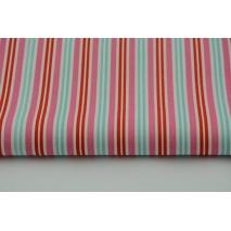 Bawełna 100% paski różowo turkusowo czerwone