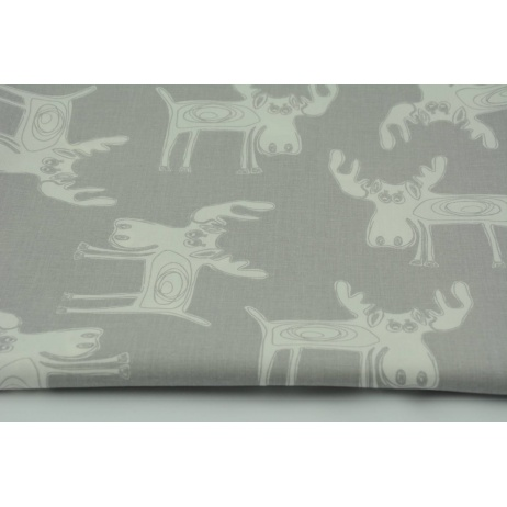 Cotton 100% white moose on a gray background