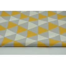 Bawełna 100% trójkąty szaro-miodowe