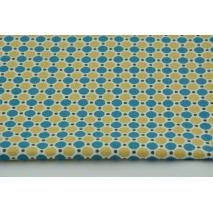 Bawełna 100% kółka turkusowo-musztardowe