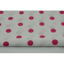 Bawełna 100% fuksjowe kropki 17mm na białym tle