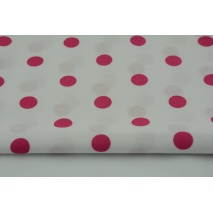Cotton 100% fuchsia polka dots 17mm on a white background