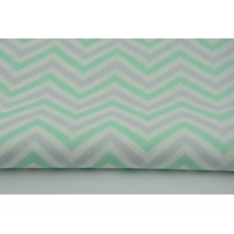 Cotton 100% pastel zigzag, chevron gray and mint on a white background