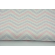 Cotton 100% pastel zigzag, chevron pink and violet on a white background