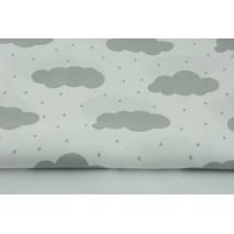 Bawełna 100% jasnoszare chmurki z deszczem na białym tle