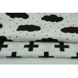 Bawełna 100% czarne chmurki z deszczem na białym tle