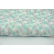 Cotton 100% mini, small triangles gray and mint