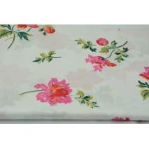 Bawełna 100% kwiaty OS na białym tle