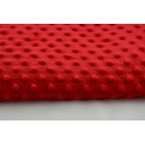 Dimple dot fleece minky in red color 380g/m2