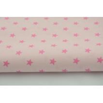 Bawełna 100% ciemnoróżowe gwiazdki na różowym tle