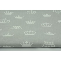 Cotton 100% white crowns, majesty on a gray background R