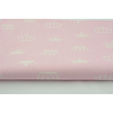 Cotton 100% white crowns, majesty on a pink background R
