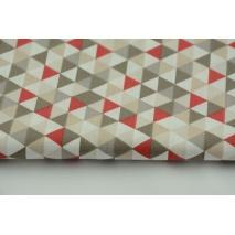 Bawełna 100% mini trójkąty beżowo-bordowe