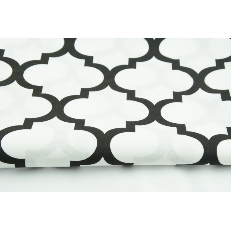 Cotton 100% black moroccan trellis on a white background