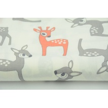 Cotton 100% gray and coral deers on a white background