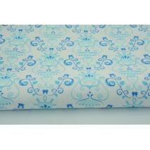 Bawełna 100% niebieskie kielichy kwiatów na białym tle Tante Ema