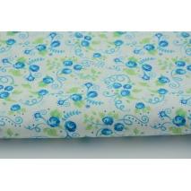 Bawełna 100% niebieskie różyczki z liśćmi Tante Ema