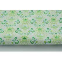 Bawełna 100% zielone kielichy kwiatów na białym tle Tante Ema