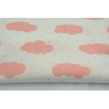 Cotton 100% coral clouds and rain on a white background