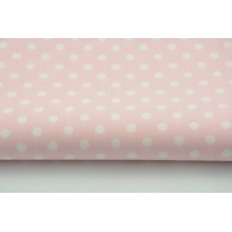 Cotton 100% white polka dots 6mm on a coral background L