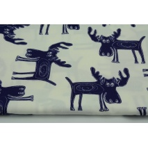 Cotton 100% navy moose on a white background