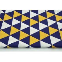 Bawełna 100% trójkąty granatowo-żółte