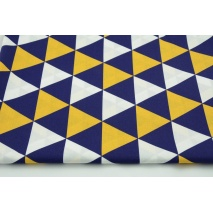 Cotton 100% navy and yellow triangles