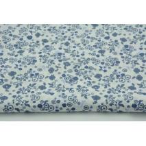 Bawełna 100% batyst, granatowo-niebieskie ptaszki, kwiatki