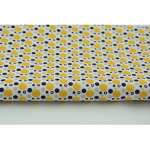Cotton 100% mix circles yellow-blue-gray