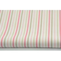 Bawełna 100% paski różowo-beżowe
