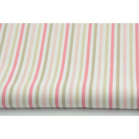 Bawełna 100% paski beżowo-różowe