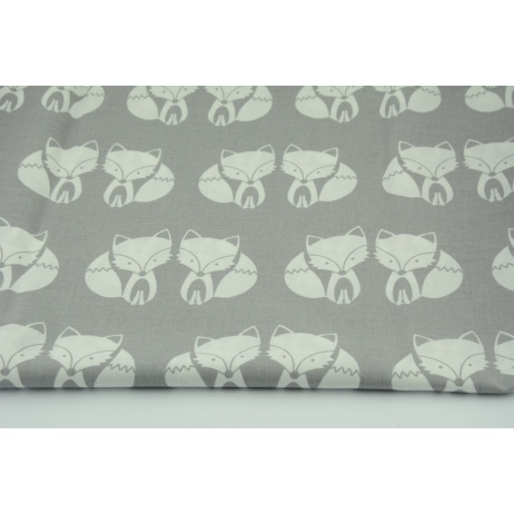 Cotton 100% foxes on a gray background