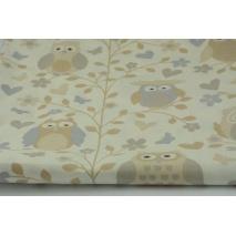 Bawełna 100% sowy beżowo-szare