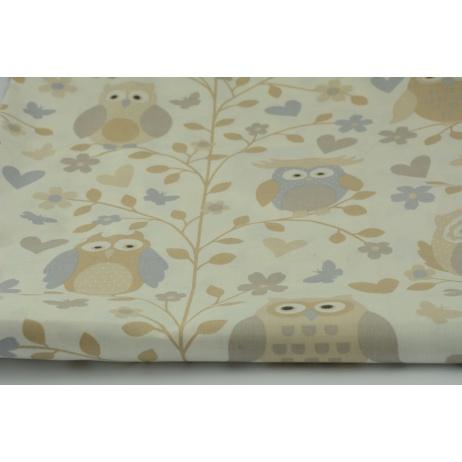 Cotton 100% owls beige-gray