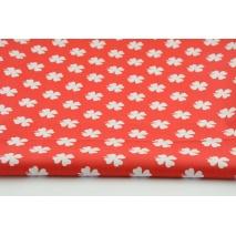 Bawełna 100% koniczynka na czerwonym tle