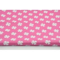 Bawełna 100% koniczynka na c.różowym tle