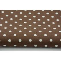 Bawełna 100% kropki białe 7mm na brązowym tle