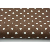 Cotton 100% polka dots 7mm on a chocolate brown background