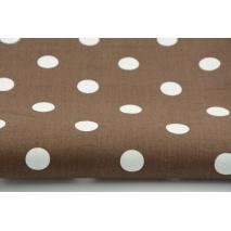 Bawełna 100% kropki 17mm na brązowym tle