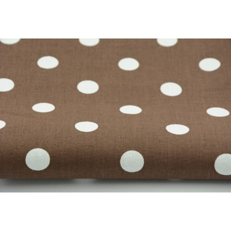 Cotton 100% polka dots 17mm on a chocolate brown background