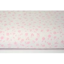 Bawełna 100% różowa łączka na białym tle, drobne kwiatki