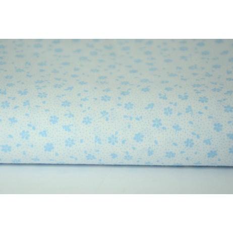 Bawełna 100% niebieska łączka na białym tle, drobne kwiatki