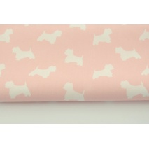 Cotton 100% white terriers on a coral background